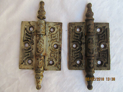 Vintage Pair Door Hinges Antique Victorian Old Paint Cast Iron Shabby Steeple