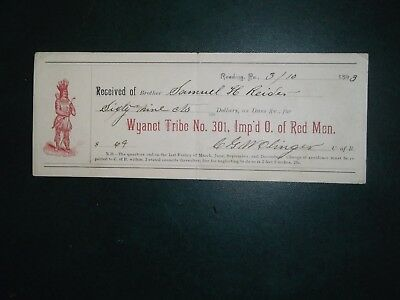 Receipt. Mar. 10, 1893. Reading, Pa. Wyanet Tribe No. 301. Imp'd  O. of Red Men