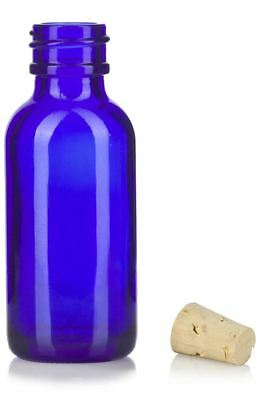 1 oz Cobalt Blue Glass Boston Round Bottle with Cork Stopper + Funnel and Labels