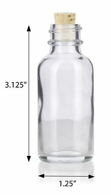 1 oz Clear Glass Boston Round Bottle with Cork Stopper + Funnel and Labels