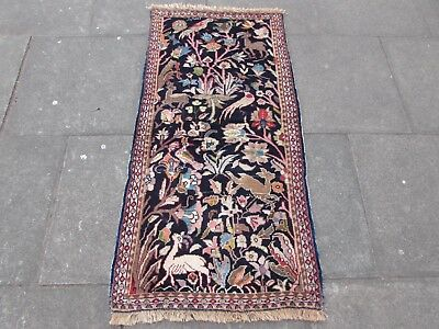 Old Traditional Hand Made Persian Rugs Oriental Wool Blue Rug Runner 144x72cm