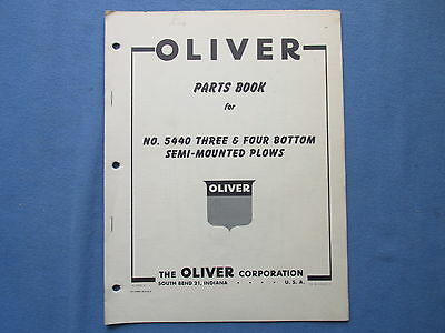 1950s Oliver Farm Parts Book Manual for 3 & 4 Bottom Semi Mounted Plows # 5440
