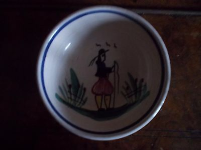 """Vintage Small French """"h B Quimper"""" Bowl"""