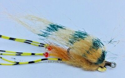 4 Saltwater Fly Fishing Flies Spawning Shrimp Pearl
