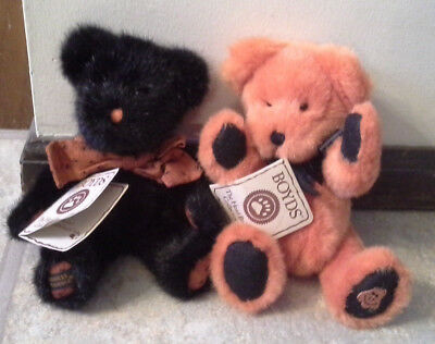 (NWT) Lot Of Two Boyd's Plush Bears Black & Orange From The Head Bean Collection