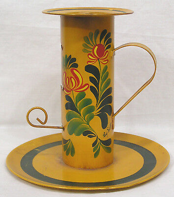 Vtg Tin Toleware Signed Pushup Candle Stick Red Green Flowers 1940s-50s