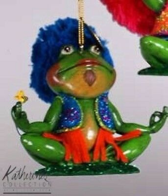 katherine's collection frog Ornament Groovy yoga hippy 70's 18-82598 blue hair