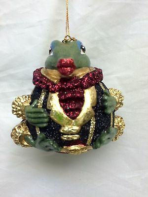 Katherine's Collection frog kissing ornament retired Black Gold stripe LAST one