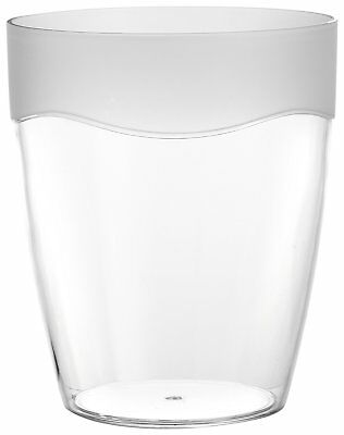 Carnation Home Fashions Clear Acrylic Waste Basket with Frosted Clear Trim