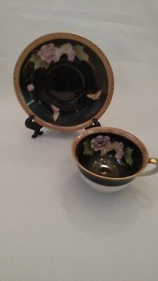 RARE Pink Flowers on Black Hand Painted Tea Cup and Saucer Occupied in Japan