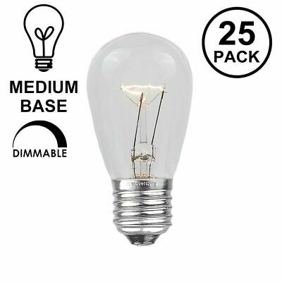 25 Pack S14 Outdoor Patio Replacement Bulbs, E26 Medium Base, Clear, 11 Watt