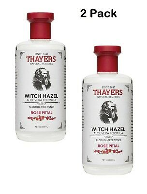 Thayers Rose Petal Witch Hazel Alcohol-Free Toner with Aloe Vera 12 oz (2 PACK)