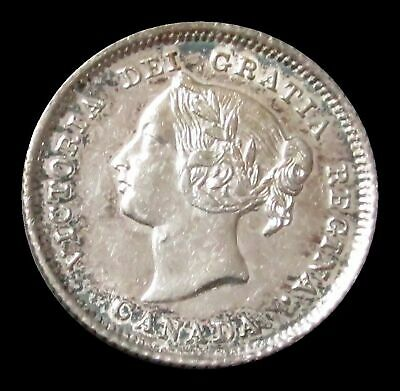 1881 H Silver Canada 5 Cents King Victoria Coin About Uncirculated Condition