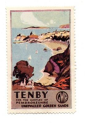 UK Railway Promotion Labels-Tenby for the Castles of Pembrokeshire to Golden San