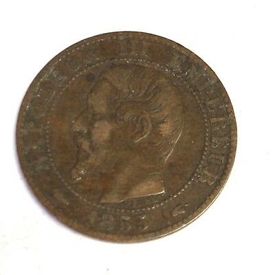 1855-A French Empire 5 Centimes, Napoleon III France coin