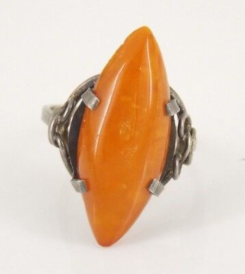 Vintage / Antique Sterling Silver Butterscotch Ring Size 6.75