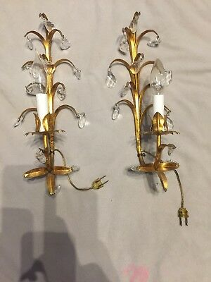 Fabulous Italian Pair Wall Sconce Lit Vintage Gold Gilt Crystals Free Shipping