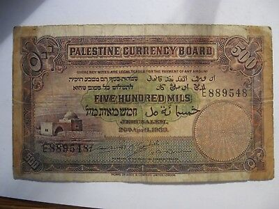 PALESTINE Currency Board April 20th 1939 ISSUE 500 MILS VERY SCARCE BANKNOTE