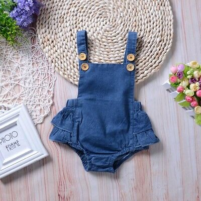 Newborn Baby Girls Denim Princess Dress Romper Bodysuit Jumpsuit Sunsuit Clothes