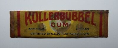 Vintage KullerBubbel Chewing Gum Stick w Wrapper Bee Bee Confection Co Dayton OH