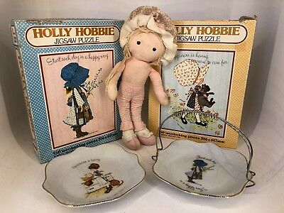 Vintage Holly Hobbie Lot - Knickerbocker Doll, Puzzles & Dishes