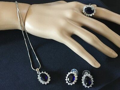 Ring, Earrings & Necklace with Large Sapphires Coloured Stones, Silver metal