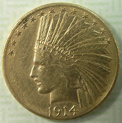 $10 1914 Indian Head Gold Eagle XF Details * AvenueCoin