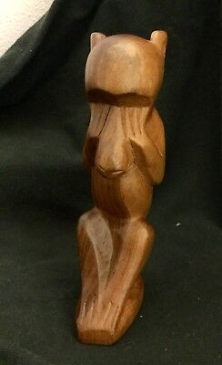 "Beautiful Carved Wood Monkey ""See No Evil"" Natural Wood 5 Inch New!"