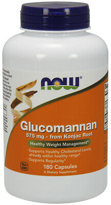 Now Foods Glucomannan 575 mg 180 Caps,Healthy Cholesterol Levels,Konjac Root