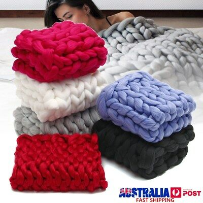 Large Soft Warm Handmade Chunky Knit Blanket Thick Line Yarn Knitted Throw Decor