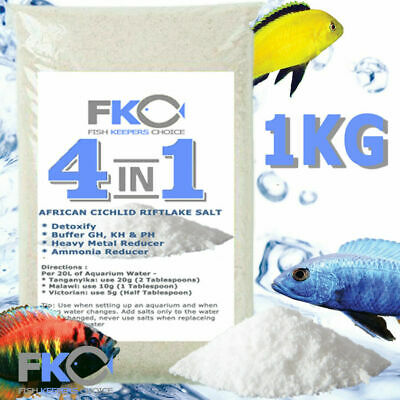 Fish Keepers Choice 4 in 1 African Cichlid Aquarium Water Conditioner Salt 1kg