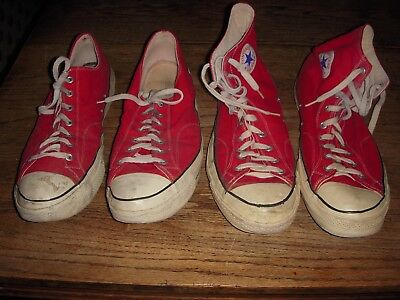 Vintage CONVERSE Red Chuck Taylor Black Label ALL STARS (2) Pair Size 17 !!!!