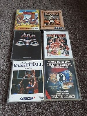 Commodore 64 : 6 Original cassette games  c64 vintage