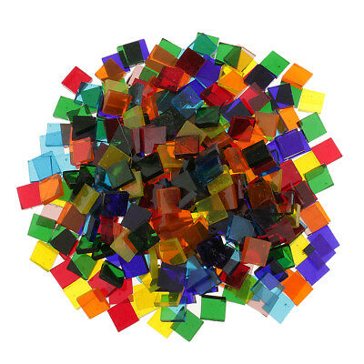 250pcs Colorful Square Clear Glass Pieces Mosaic Tiles for Craft 10x10mm
