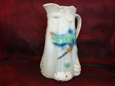 Barbotine Porcelain French Style Bird Kingfisher Pitcher Pitcher