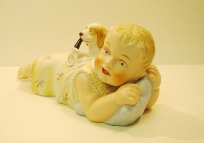 Bisque Porcelain Art Nouveau Style Art Deco Style Piano Baby Baby Dog Statue Fig