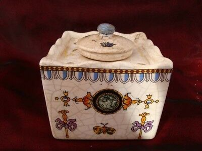 Ceramic Crackleware Porcelain Renaissance Style Office Inkwell
