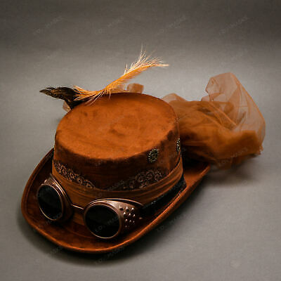 Women Steampunk Hat, Steampunk Goggles, Steampunk Feather Party Hat - Brown