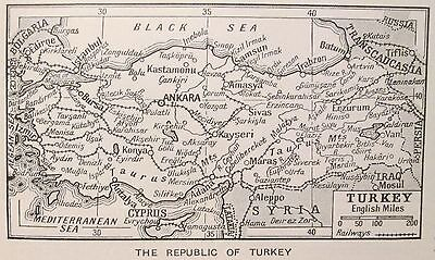 vintage 1934 mini map The Republic of Turkey Türkiye