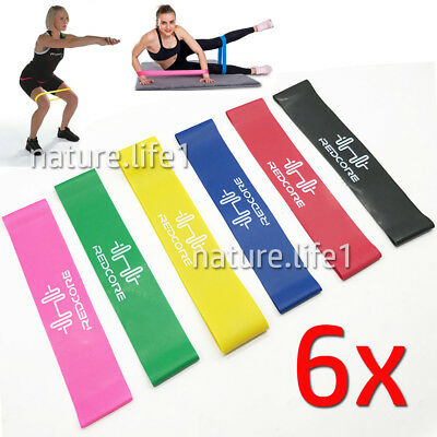 6 tlg. Gymnastikband Set Fitnessbänder Fitnessband Rubber Band Latexband 5-50lbs