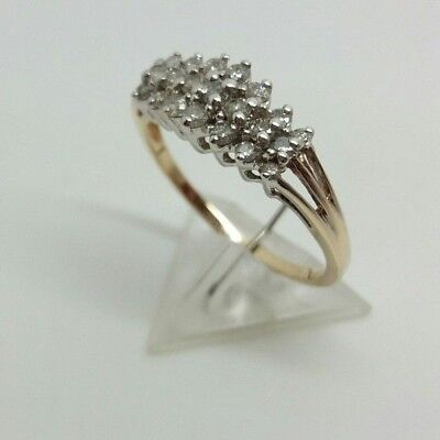9ct gold ladies 21 stone diamond ring size P weight 2.09 grams boxed