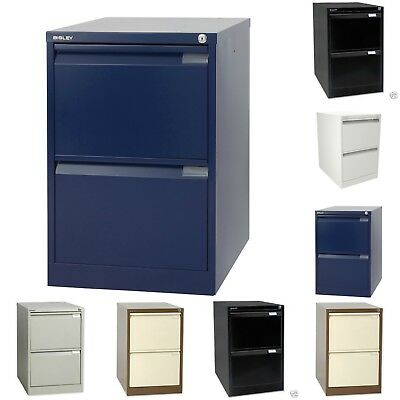 Bisley 2 Drawer Steel A4 Locking Filing Cabinet Various Colours Free Uk Delivery