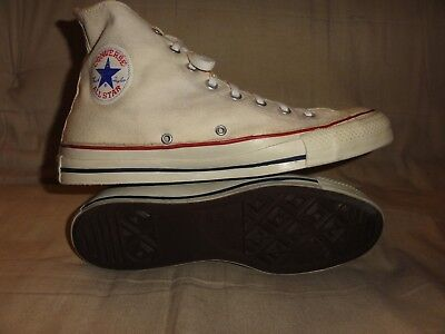 Vintage Converse White High Tops Made In Usa Size 10.5 1980 Extra Stitch