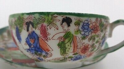 Vintage Hand Painted Thin Porcelain Cup and Saucer Geisha w/ Fan in Garden Small