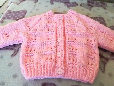 Pink hand knitted baby cardigan - new -  0 to 3 months