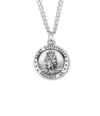 Round Classic Sterling Silver Saint Chris Protect Me Travelers Chain Necklace