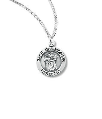 Classic Sterling Silver Saint Christopher Round Travelers Medal Chain Necklace