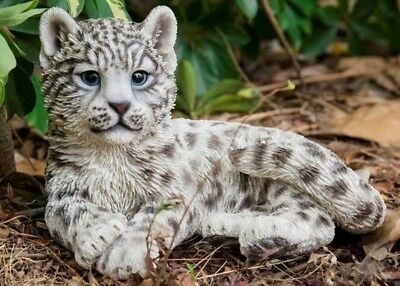 Snow Leopard Cub Stunning Realistic Life Like Figurine Statue Home / Garden NEW
