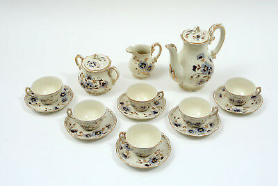 Zsolnay Porcelain Tea Set from Hungary, 15 Pieces, Cornflower Design, 1930s