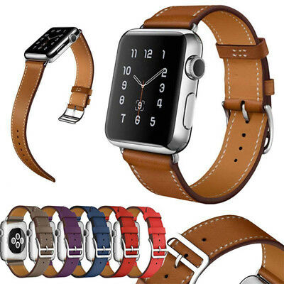 Genuine Leather Wrist Band Strap For Apple Watch iWatch 1/2/3/4/5 Series 38/42mm